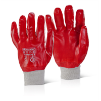 BEESWIFT RED PVC GLOVES SIZE10 (10 PAIRS)