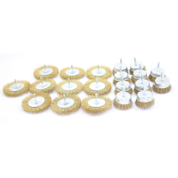 RECKTO ASSORTED BOX OF WIRE BRUSH/ WHEELS (BOX OF 20)