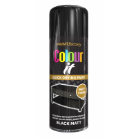 PAINT FACTORY 400ML M/PURPOSE SPRAY PAINT- BLACK MATT