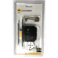 """YALE ESSENTIALS 64MM (2.5"""") 3 LEVER DEAD LOCK- CHROME"""