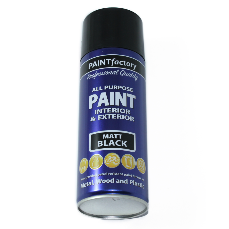 Paint Factory 400ml M Purpose Spray Paint Black Matt